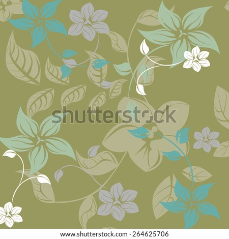 Succulent Plants Seamless Floral Pattern Background - Illustration