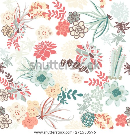 Succulent Plants Seamless Pattern Background  - stock vector