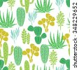 Succulents cacti plant vector seamless pattern. Botanical desert flora fabric print. Home garden cartoon cactuses for wallpaper, curtain, tablecloth. - stock photo