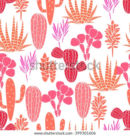 Succulents cacti plant vector seamless pattern. Botanical pink and rose desert flora fabric print. Home garden cartoon cactuses for wallpaper, curtain, tablecloth. - stock vector