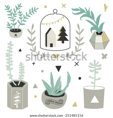 Succulents in DIY concrete pots in scandinavian style. Home decoration. - stock vector