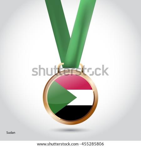 Sudan Flag in Bronze Medal. Vector Illustration - stock vector