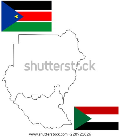 Sudan map with new borders. Vector illustration of actual political situation in Sudan, Africa, Republic of Sudan, South Sudan and Abyei vector map high detailed silhouette illustration isolated. - stock vector