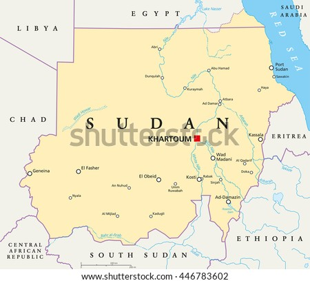 Sudan Political Map With Capital Khartoum National Borders Important Cities Rivers And Lakes
