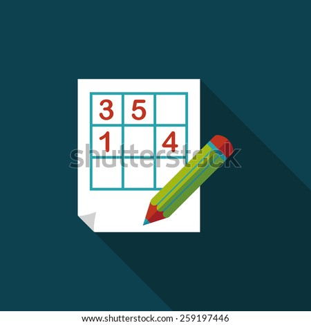 Sudoku flat icon with long shadow,eps10 - stock vector