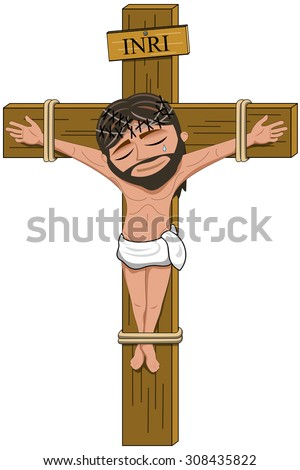 Suffering Jesus crucifix on the cross isolated - stock vector