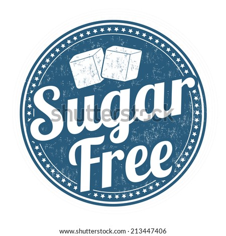 Sugar free grunge rubber stamp on white background, vector illustration - stock vector