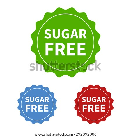 Sugar free or no added sugar food packaging seal or sticker flat icon - stock vector