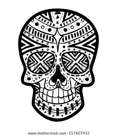 Evil Skull Coloring Pages Sugar skull - stock vector