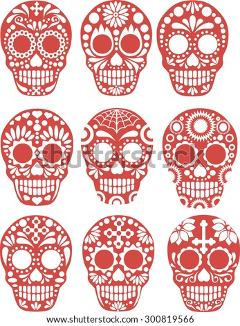 sugar skull - stock vector