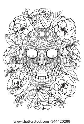 Sugar Skull A 4 Printable Coloring Book Stock Vector 344420288 ...