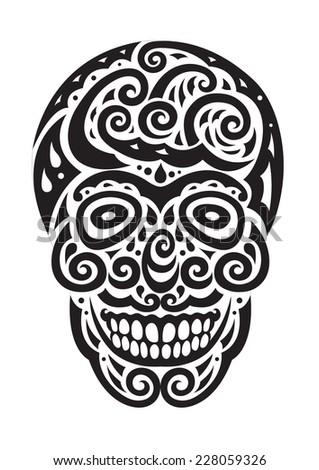 sugar skull day of the dead illustrations design - stock vector