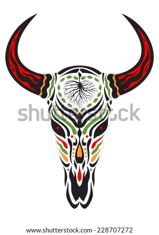 sugar skull day of the dead illustrations design, bull skull - stock vector
