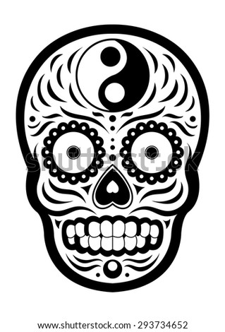 sugar skull day of the dead, yin and yang design, black and white, vector - stock vector