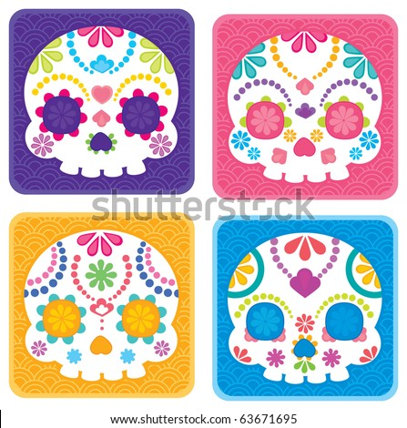 Sugar skull from Day of the Death. Cool Vector Style.