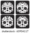 Sugar skull from Day of the Death. Cool Vector Style. Black & White Stamps. - stock vector