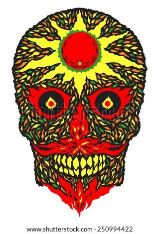 sugar skull hot sun, sunny power design vector illustration - stock vector