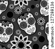 Sugar skull seamless pattern - stock photo