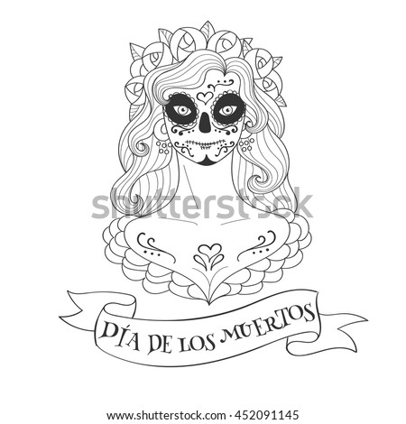 Sugar Skull Woman Day Dead Template Stock Vector 452091145 ...