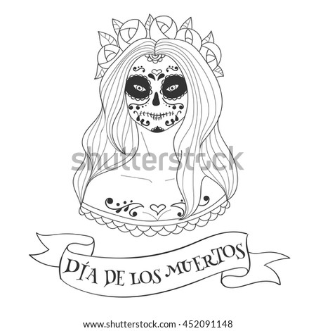 Sugar Skull Woman Day Dead Template Stock Vector 452091148 ...
