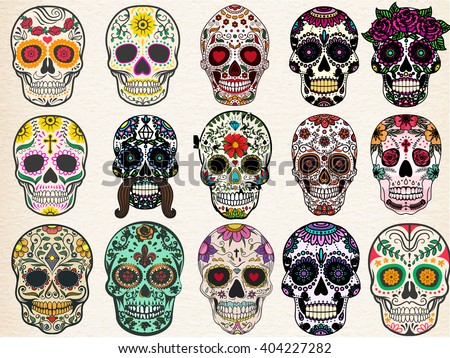 Sugar skulls set - stock vector