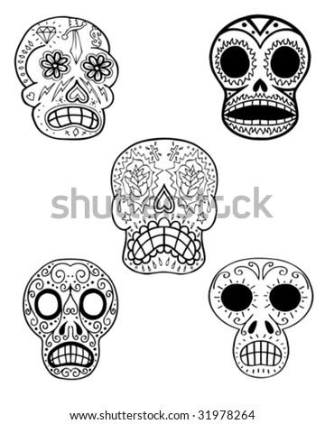 sugar skulls vector - stock vector