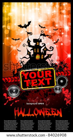 Suggestive Hallowen Party Flyer for Entertainment Night Event with a lot of space for your text.and red drops of blood in the background - stock vector