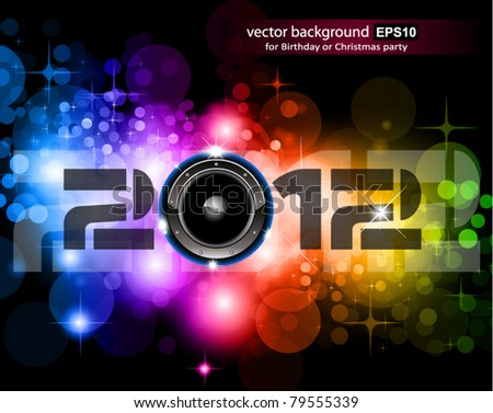 Suggestive 2012 New Year Celebration Background with Glitter and Rainbow Colours ideal for nightlife music event posters.