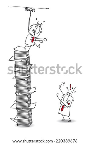 Suicidal tendences.This businessman is in burnout. he want to commit suicide. Don't jump of the paper stack - stock vector