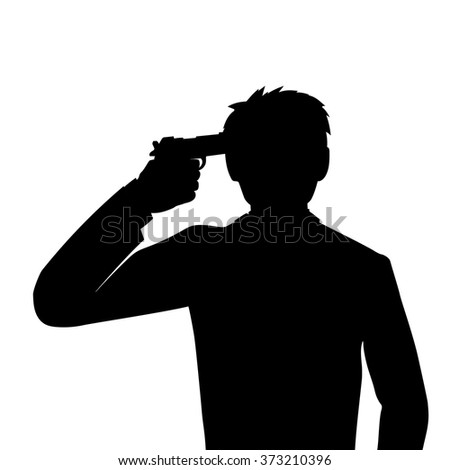 suicide headshot - stock vector