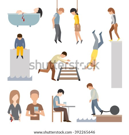 Suicide people cartoon symbols and suicide flat character alone people vector. Suicidal commit suicide people methods stick cartoon figure flat vector icons.  - stock vector