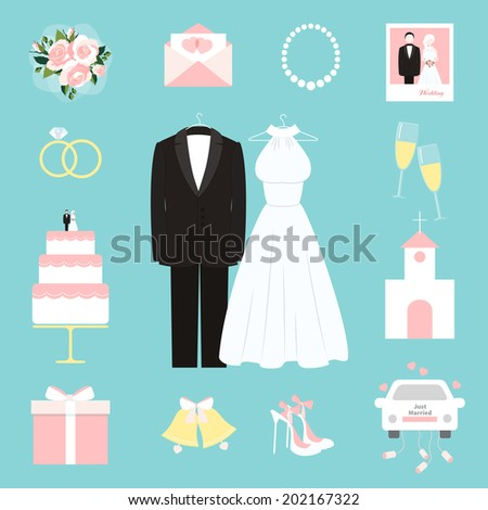 Suit and bridal gown surrounded by wedding themed icons - stock vector