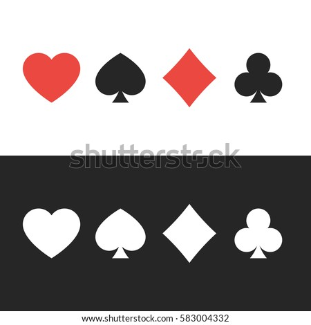 Suit Playing Cards Colored White On Stock Vector 583004332