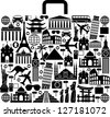 suitcase composed from different travel elements. black and white picture - stock vector