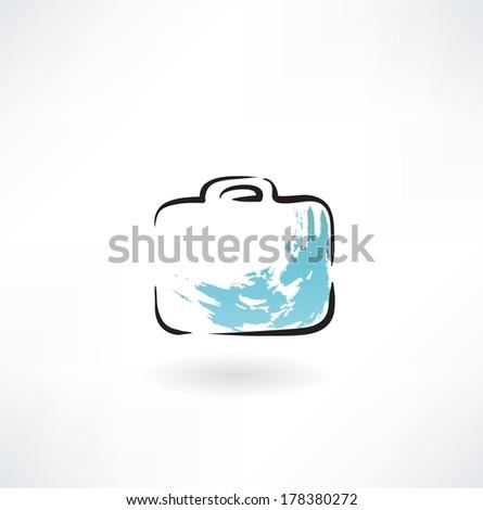 suitcase  grunge icon - stock vector