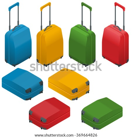 Suitcase, large polycarbonate suitcase. Travel plastic suitcase with wheels realistic. Flat 3d Vector isometric illustration. - stock vector