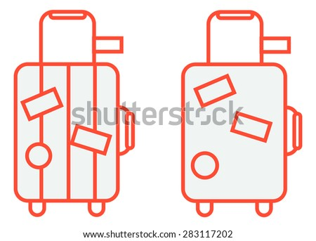 Suitcase on wheels with traveling stickers line icon - stock vector