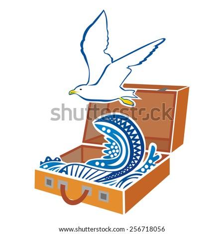 Suitcase seagull sun travel vector illustration - stock vector