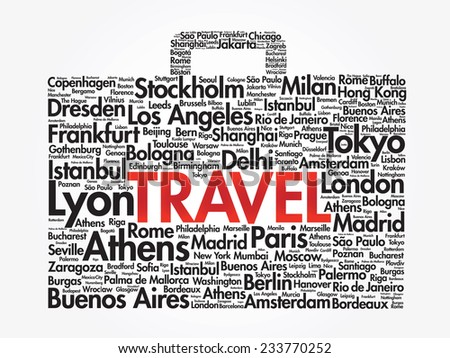 Suitcase travel concept made with words cities names, vector collage - stock vector