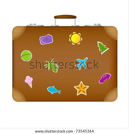 Suitcase Travel Stickers, Isolated On White Background, Vector Illustration - stock vector
