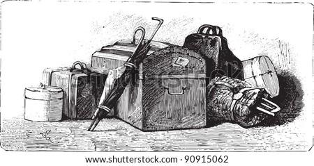"Suitcase - Vintage illustration from ""La petite soeur par Hector Malot"" 1882, France"