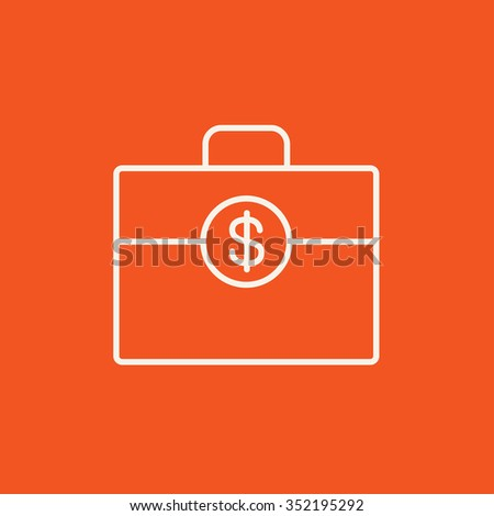 Suitcase with dollar symbol line icon for web, mobile and infographics. Vector white icon isolated on red background. - stock vector