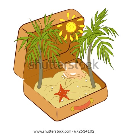Suitcase with sand starfish, palm trees and sun