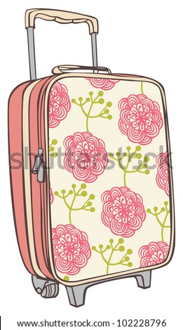 suitcases for traveling with a flower pattern - stock vector