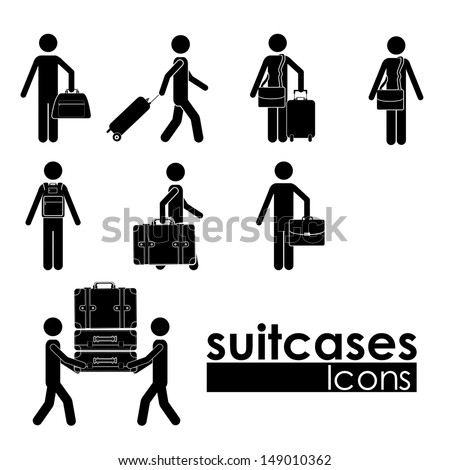 suitcases icons over white background vector illustration - stock vector