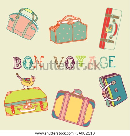 Suitcases with a bird - stock vector