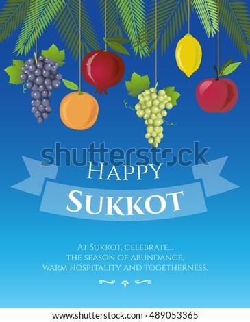Sukkot festival greeting card design vector stock vector hd royalty sukkot festival greeting card design vector template greeting text happy sukkot traditional m4hsunfo