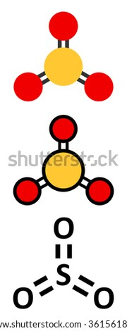 Sulfur trioxide pollutant molecule. Principal agent in acid rain. Stylized 2D renderings and conventional skeletal formula.  - stock vector