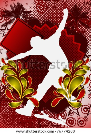 Summer abstract background design with skateboarder silhouette. Vector illustration. - stock vector