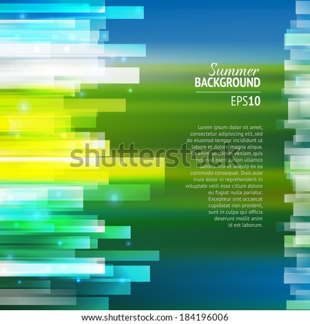 Summer abstract lighting background with movie effect. - stock vector